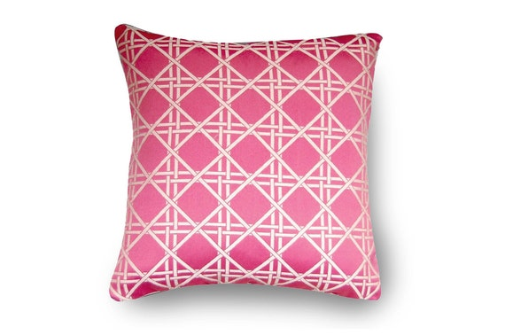 Lattice Pillow Pink Trellis with insert  18X18 inch