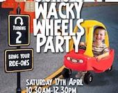 Wheels/Go Kart Party Printable Invitation - with Photo