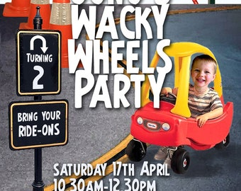 Wheels/Go Kart Party Printable Invitation - with Photo