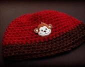 Cheeky Monkey Crocheted Baby Hat - toddler size - HALF PRICE SALE