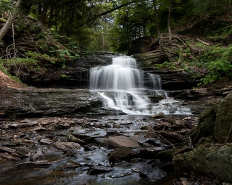 Landscape Photography - Waterfall in the woods - rocks stream nature spring green 16x24