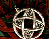Celtic Sterling Silver Circular  Pendant, Minimalist Design with Trinity Knot with Leather Cord CP-42