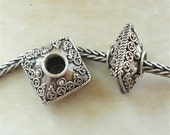 SQUARE - Authentic Genuine Antique 925 Sterling Bali Silver BHB Charm Fits All European Style Systems