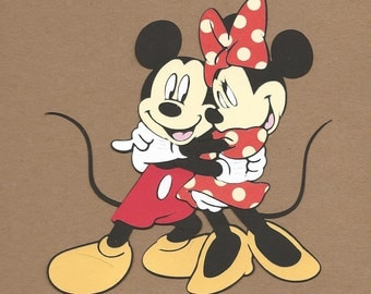 1- 5 1/2 inch tall Hugging Mickey and Minnie Mouse Cricut Die Cuts