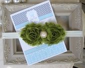 Infant Shabby Chic Headband-Avocado Green-Baby Head Band-Shabby Chic Bow-Newborn Headband