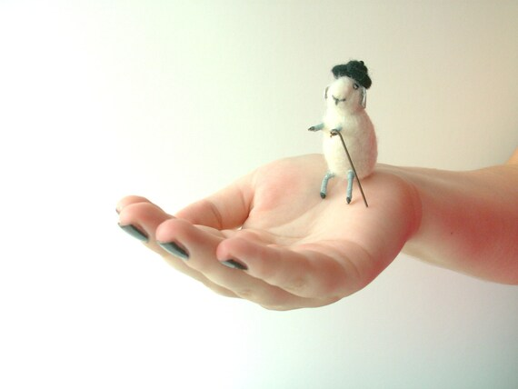 Needle Felted White Sheep with Hat and Cane, Felt Miniature, Farm Animal Soft Sculpture