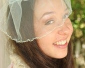 Blue Tulle Birdcage Wedding Veil Ready to Ship by Ruby & Cordelia's Millinery