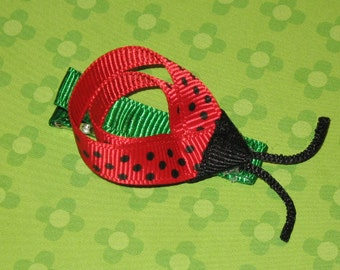 "NEW ""RED LADYBUG"" Boutique Girls Ribbon Sculpture Hairbow Clip Clippie"