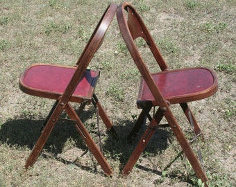 Antique folding chairs, set of 2
