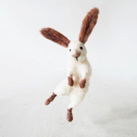 Children's woolen toy rabbit, posable organic kid's toy
