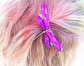 Purple dragon fly hair clip