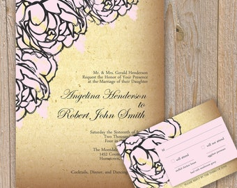 Vintage Peonie Wedding Invitation and Response Card