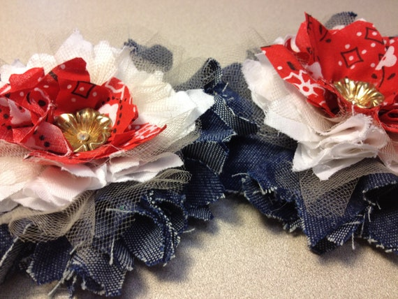 Custom for Karrie - 4 Country Western Fabric Flowers