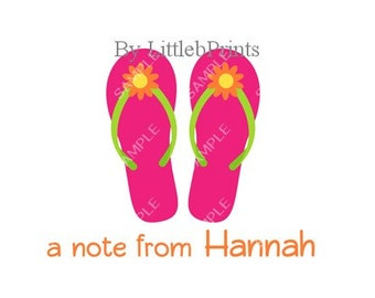 Pink Flower Flipflops Note Cards Set of 10 personalized flat or folded cards