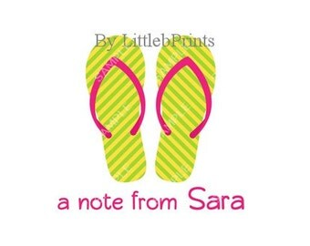 Green Flipflops Note Cards Set of 10 personalized flat or folded cards