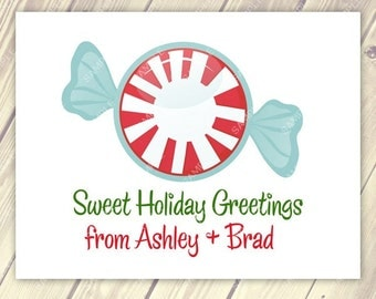 Buy 3 sets get 1 set Free - Personalized for you Peppermint Christmas Cards Set of 10 Notecards
