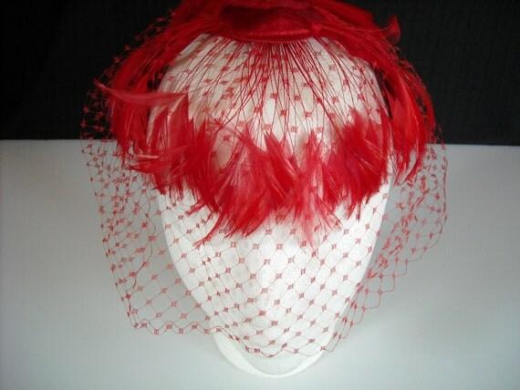 vintage red feathers velvet hat