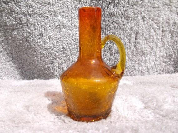 amberina glass pitcher blenko crackle