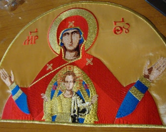 "Theotokos Mother of God ""Wider than the Heavens"" Applique for Orthodox Christian priest's vestment or Church use"