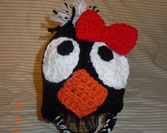 Penguin Ear Flap Style Crochet Hat with Customizable Bow perfect for Babies or Adults!