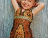 Children's Cotton hand painted Batik Dress 10-18 months