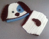 Baby Boy/Girl Hat Puppy Hat and Diaper Cover with Tail