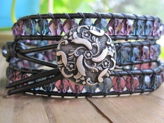 Purple and Grey Faceted Glass Bead Leather Wrap, with Twirling Flower Metal Shank Button, 3x Wrap