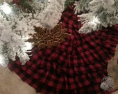 Rustic Buffalo check plaid ruffle tree skirt