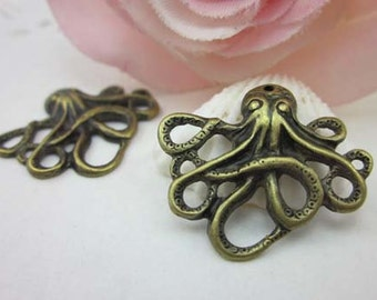 10pcs Cute Antique Brass Paul Octopus Charms Pendants