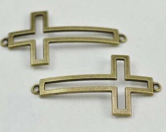 10pcs Sideways Cross Charms, Antique Brass Sideways Cross Charms Connector 28x55mm