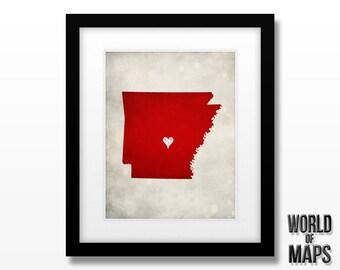 Arkansas State Map Print - Home Town Love - Personalized Art Print - Original Geographical Artwork