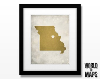 Missouri Map Print - Home Town Love - Personalized Art Print 11x14