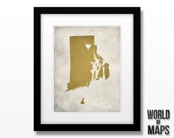 Rhode Island Map Print - Home Town Love - Personalized Art Print