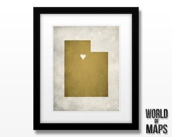 Utah Map Print - Home Town Love - Personalized Art Print