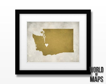Washington Map Print - Home Town Love - Personalized Art Print