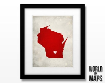 Wisconsin State Map - Home Town Love - Personalized State Map Print - Original Geographical Art