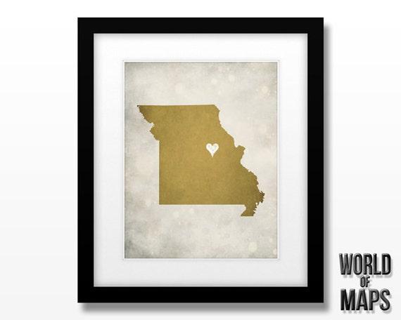 Missouri Map Print - Home Town Love - Personalized Art Print 11x14
