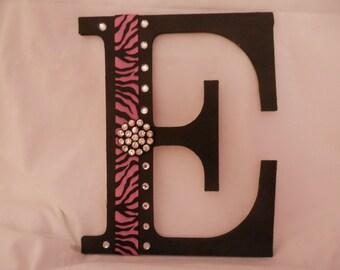Rhinestone Bling Initial E