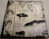 Ceramic Vintage Book Coaster - 1940's & 1950's Ladies Hats/Hairstyles