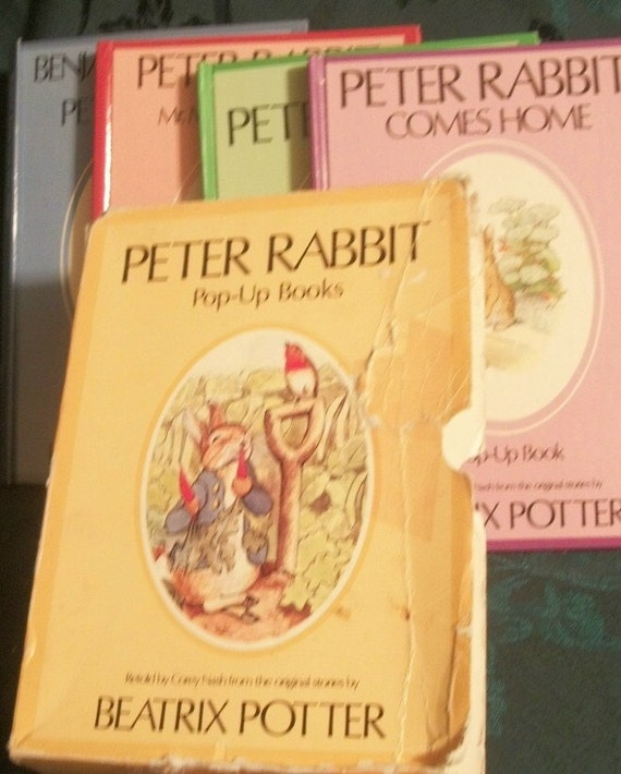 Set of Four Beatrix Potter Peter Rabbit Pop-up Books, 1989