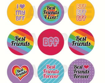 INSTANT DOWNLOAD - Best Friends BFF Bottle Cap Images - 4x6 Digital Collage Sheet - 1 Inch Circles for Bottlecaps, Hair Bow Centers, & More
