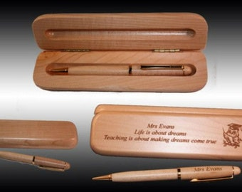 Personalized  Pen Box with a Pen- Free Engraving