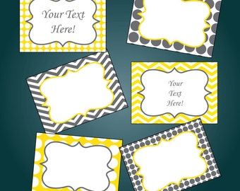 Gray and Yellow Chevron and Polkadots Printable Buffet Labels - Printable PDF - EDITABLE - Instant Download - Immediate Download