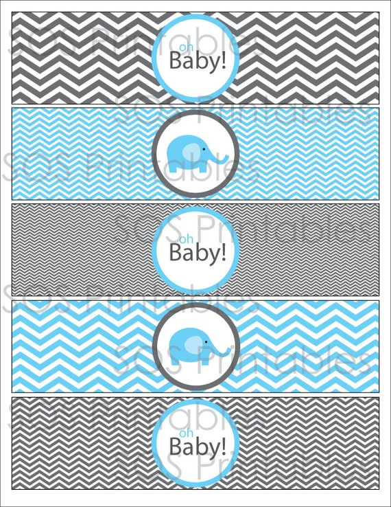 Blue Elephant Baby Shower Printable Water Bottle Label