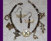 Dark Coffee Pearl Bracelet/Earring Set, Dragonfly Accent & Wildlife Charms