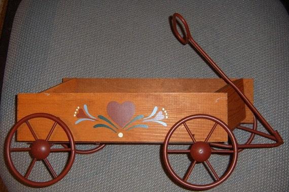 50% OFF Sale  Vintage Wagon Wall Planter, Homco, Wooden Wagon Planter, Garden Decor,