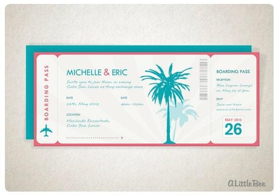 Items Similar To Custom Wedding Invitation   Beach Boarding Pass On Etsy