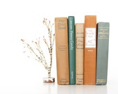 Terracotta and Teal Green Fall Book Collection // Vintage Book Decor // Natural Wedding Decor // Autumn Harvest // Rustic Farmhouse - VintageScholar