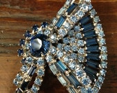 On Hold for Melody Lovely Blue Rhinestone Brooch