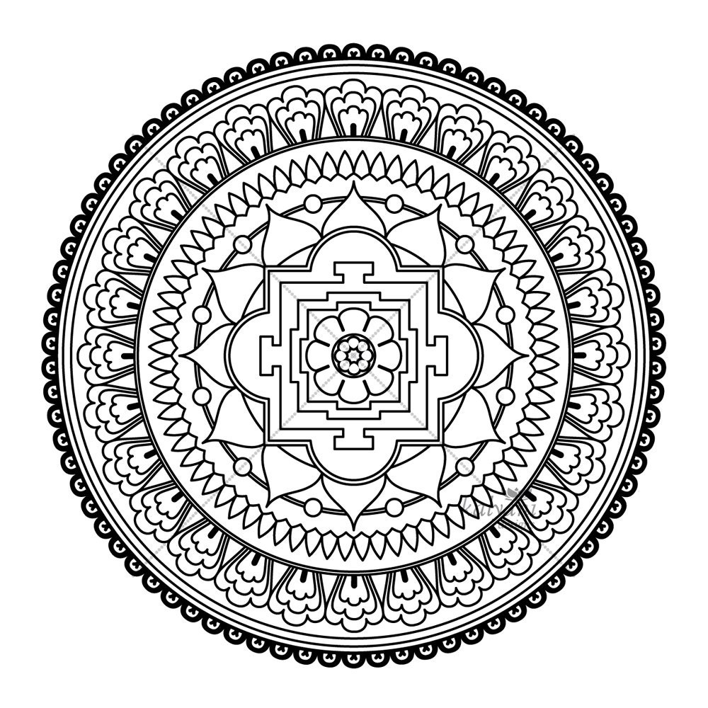 five mandala colouring pages printable digital by kalyanidesigns